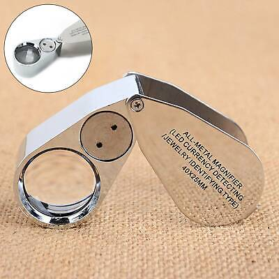 Jewellers Eye Jewelry Lens Glass Loupe 40x-25 Magnifier Magnifying LED Light UK • 7.09£