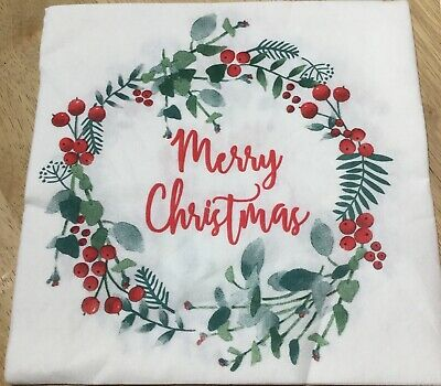 Christmas Wreath And Berries Napkins - Linen Feel Perfect For Decoupage • 1.30£