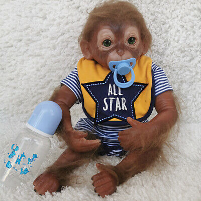 20  Cute Handmade Reborn Baby Monkey Dolls Lifelike Monkey Boy Doll Cloth Body • 58.99£