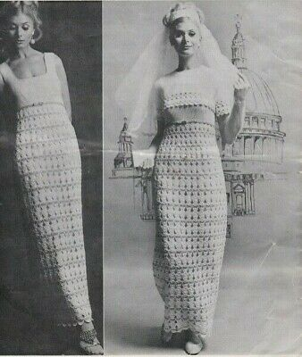 [65] Crochet Pattern Ladies Vintage Wedding Bridal Gown  • 2.75£