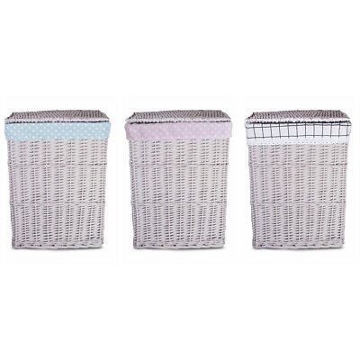 £21.99 • Buy Light Grey Paint Laundry Wicker Basket Cotton Liner With Lid Bathroom Storage
