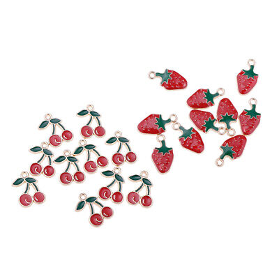 £4.07 • Buy 20Pcs Sweet Strawberry Cherry Beaded Pendant Charms Jewelry Findings Craft
