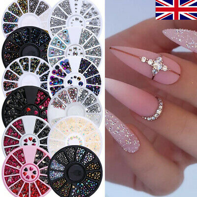 3D Nail Art Rhinestones Wheel Crystals Gems Beads Charms Pearl Glitter Decors • 3.69£
