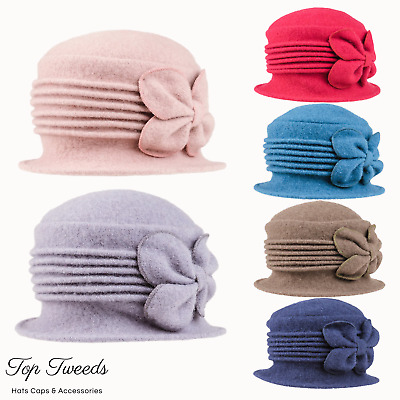 Ladies Wool Cloche 1920's Crushable Winter Downton Abbey Style Hat • 9.99£