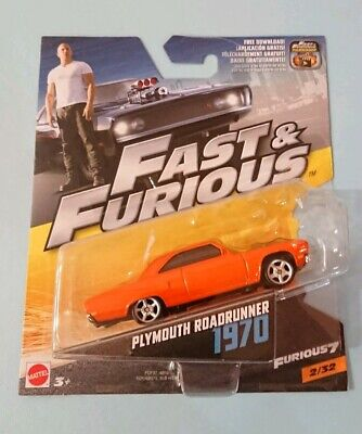 Mattel. Fast And Furious. Furious 7. Plymouth Roadrunner 1970. New Model Toy Car • 3.50£