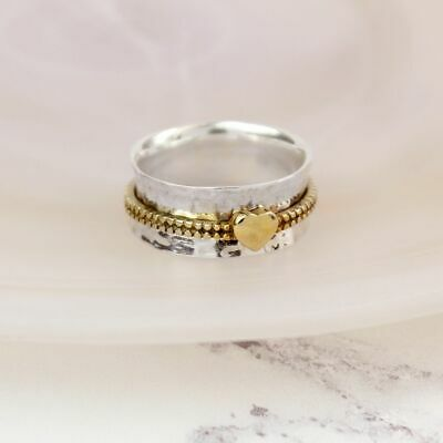 925 Sterling Silver Spinning Ring With Moving Brass Heart Thumb Fidget  • 29.95£