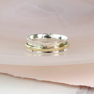 925 Sterling Silver And Brass Fine Band Spinning Ring Thumb Fidget  • 18.95£