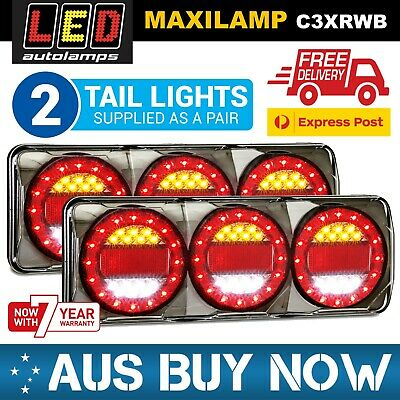 AU440 • Buy PAIR MAXILAMP 3 LED Combination Tail Lights STOP TAIL INDICATOR REVERSE UTE TRAY