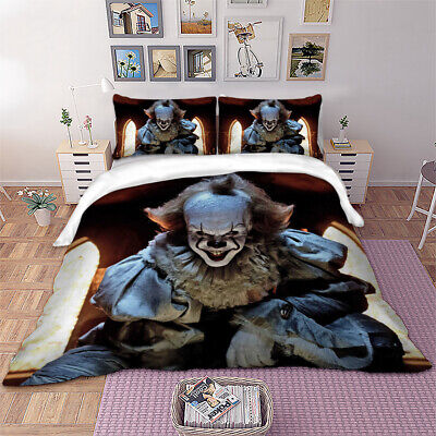 3D It Clown Duvet Quilt Cover Horror Bedding Set Pillowcases Single Double King • 28.99£