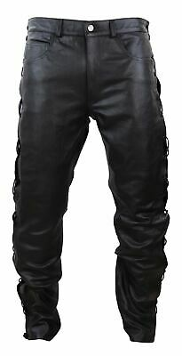 £79.99 • Buy Mens Real Leather Biker Jeans Laced Tassel Western Cowboy Riding Pants Trousers
