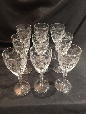 "9 Vintage Libbey Rock Sharpe 2011-4 Etched Cut Glass 7-3/4"" Water Goblets • 60$"
