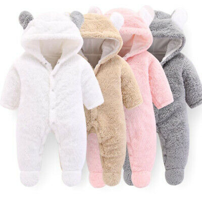 AU18.36 • Buy Winter Infant Baby Boy Girl Cotton Rabbit Hooded Romper Jumpsuit Outfits Clothes