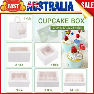 AU35.98 • Buy 1/2/4/6/12/24 Holes Muffin Paper Cupcake Box Cakes Cookies Packing Gift Case