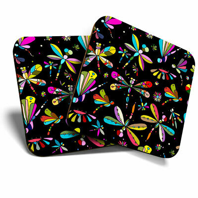 £5.99 • Buy 2 X Coasters - Colorful Dragonfly Butterfly Print Home Gift #14410