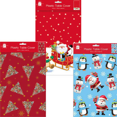 Large Christmas Tablecloth Table Decoration Festive Xmas Wipe Red Tablecover • 2.59£