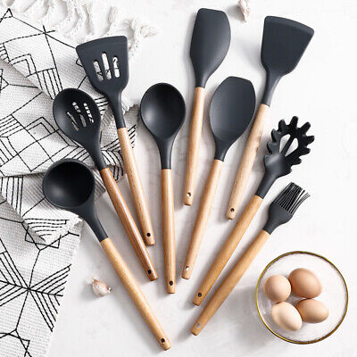 £12.99 • Buy 9x Piece Silicone Wooden Kitchen Cooking Utensils Set Tools Spatula Spoon
