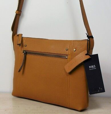 M&S Real LEATHER Smaller Size CROSS BODY Shoulder BAG In TAN (Ochre) • 24.99£