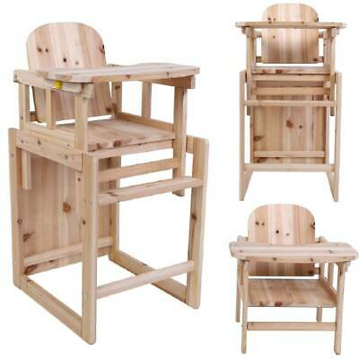 3 In 1 Children Wooden High Chair & Table Set Baby Feeding Highchair Detachable • 36.99£