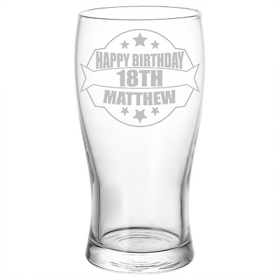Personalised Engraved Birthday Pint Glass 18th 21st 30th 40th 60th Unique Gift • 8.99£