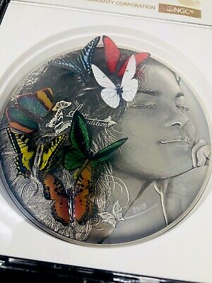 $699 • Buy NGC MS69 Palau 2018 DREAM EDITION 3D Exotic Butterflies 5 Oz Silver Coin