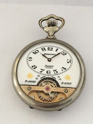 AU1351.60 • Buy Silver Plated Swiss 8 Day Hebdomas With Visible Escapement Pocket Watch
