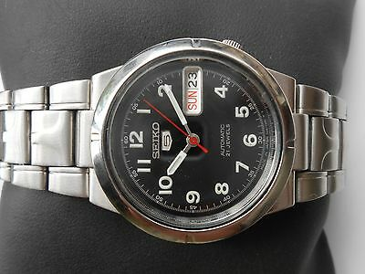 $ CDN134.07 • Buy Excellent Vintage Seiko 5 Black Dial Military Style Ss Gents Automatic Watch