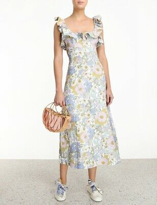 Zimmermann Super Eight Frilled Midi Dress Size 0 1 2 • 269$