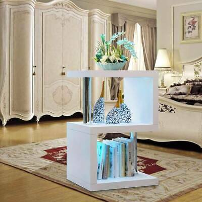 £38.99 • Buy 2 Tier Side Coffee Table With LED Light Living Room Decor-White Home Decoration