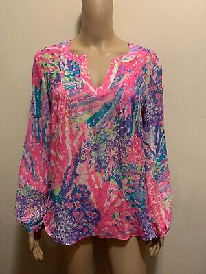 Lilly Pulitzer Silk Metallic  Size S Long Sleeve Top Blouse • 29.99$