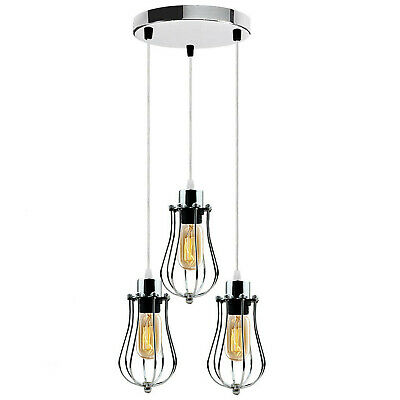 Modern 3 Way Ceiling Pendant Cluster Light Fitting Lights Black Cage Style • 35.63£