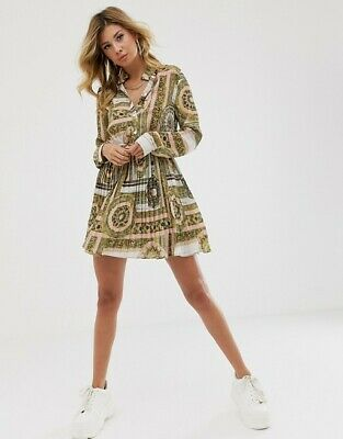 £16.99 • Buy PrettyLittleThing Shirt Dress With Pleated Skirt In Scarf Print - SIZE UK 12
