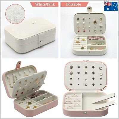 AU14.50 • Buy Portable Travel Jewellery Box Organizer Leather Ornaments Display Case Storage