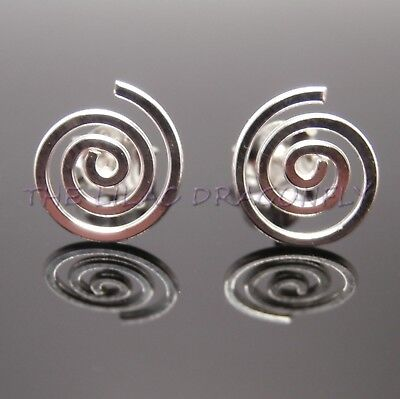 £5.99 • Buy 925 Sterling Silver Swirl Spiral Round Circle 9 & 11mm Stud Earrings + Gift Bag