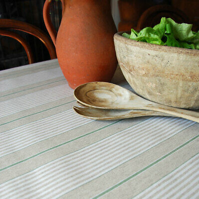 French Ticking Machine Washable Oilcloth Green Striped Linen Table Cloth  • 8£