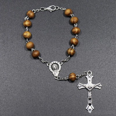 Olivewood Catholic Rosary Bracelet - Blessed By Relic Of One True Cross • 4£