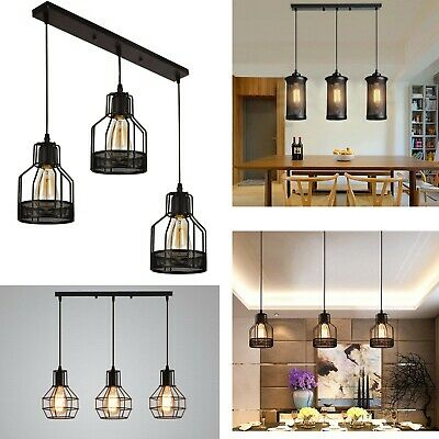 Modern Rectangle 3 Way Ceiling Pendant Cluster Light Fitting Cage Style Light UK • 44.89£