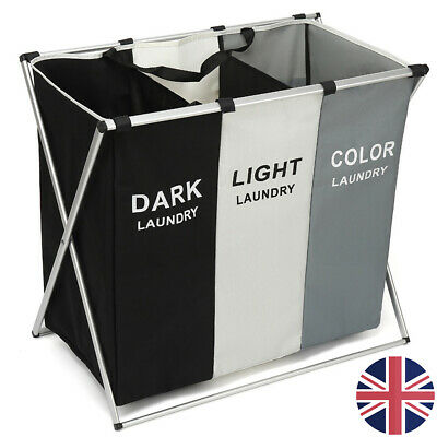 3 Compartment Laundry Clothes Washing Storage Bin Basket Hamper Dark Light Color • 16.99£