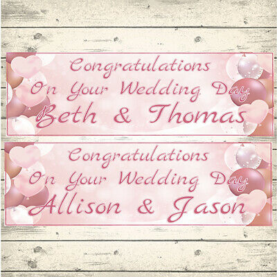 2 Personalised Rose Gold Wedding Banners - Design 3 Pink Hearts (any Names) • 3.99£