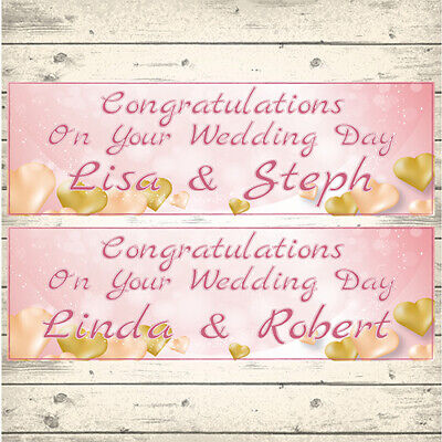 2 Personalised Rose Gold Wedding Banners - Design 1 Gold Hearts (any Names) • 3.99£