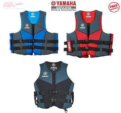 AU97.81 • Buy Yamaha PFD Life Jacket Neoprene RED With Side Handles BLUE RED BLACK MAR-18HAN