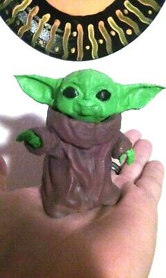 $10 • Buy Smiling Baby Yoda Figurine. 3  White Paintable PLA Statue. Desk Ornament Toy