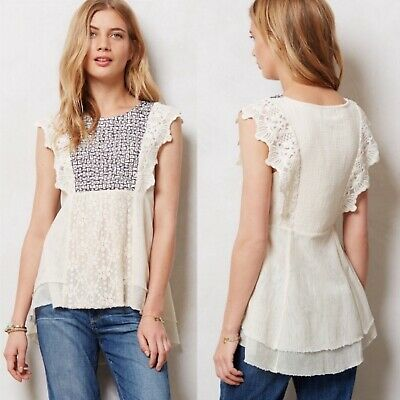 $ CDN39.76 • Buy Anthropologie Meadow Rue Anthea Boho Stitched Embroidered Lace Blouse Top Large
