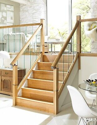 Glass Panel 2.4m Raked Staircase Kit With Immix Oak Handrail, Baserail & Glass • 399.99£