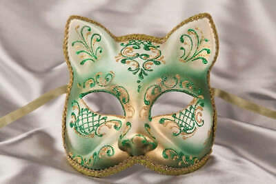 Green Gatto Fiore Gold - Animal Masquerade Cat Mask For Venetian Ball • 39.50£