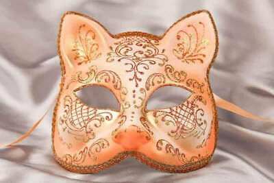 Peach Gatto Fiore Gold - Animal Masquerade Cat Mask For Venetian Ball • 39.50£