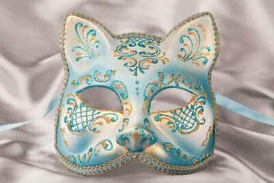 Turquoise Gatto Fiore Gold - Animal Masquerade Cat Mask For Venetian Ball • 39.50£