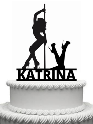 Personalised Pole Dancer, Lap Dancing, Dancer Gloss Acrylic Cake Topper Any Name • 9.99£