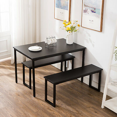 3 Piece Dining Table Set 2 Bench Chairs Wood Rectangle Kitchen Room Furniture • 49$