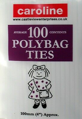 Polybag Ties, Wire Closures, Freezer Food Bag Seals, 4 , Pack 100, Caroline • 2.69£