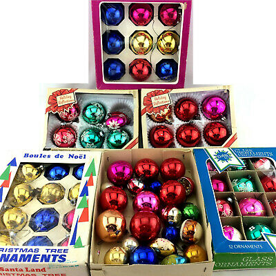 $ CDN87.18 • Buy Vintage Christmas Ball Tree Ornaments 68 Lot Glass Shiny Hand Painted Decoration